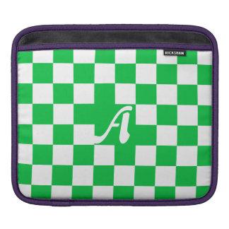 Dark Pastel Green and White Checkered Monogram iPad Sleeve