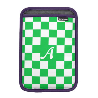 Dark Pastel Green and White Checkered Monogram Sleeve For iPad Mini