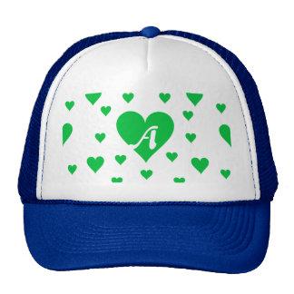 Dark Pastel Green and White Hearts Monogram Trucker Hat