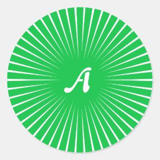 Dark Pastel Green and White Sunrays Monogram Round Stickers