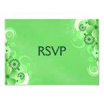 Dark Pastel Green Floral RSVP Response Cards