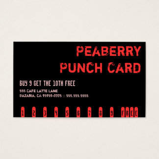 Dark Peaberry Coffee Drink Punch Card