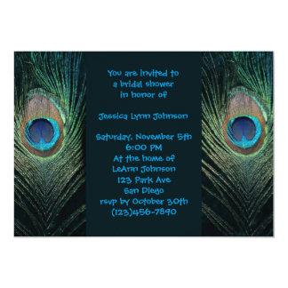 "Dark Peacock Bridal Shower 5"" X 7"" Invitation Card"
