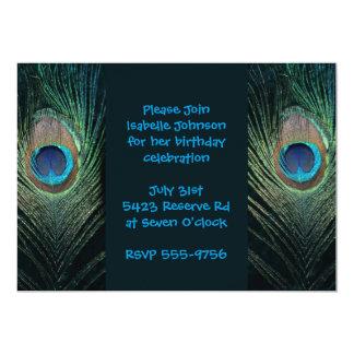 "Dark Peacock Feather Birthday 5"" X 7"" Invitation Card"