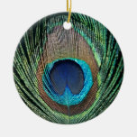 Dark Peacock Feather Double-Sided Ceramic Round Christmas Ornament
