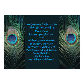 "Dark Peacock Wedding Invitation 5"" X 7"" Invitation Card"