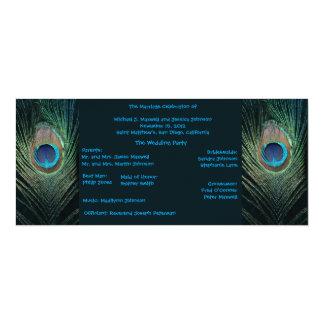 "Dark Peacock Wedding Program 4"" X 9.25"" Invitation Card"