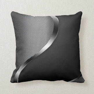 dark perforated steel with chrome and black metal throw pillow