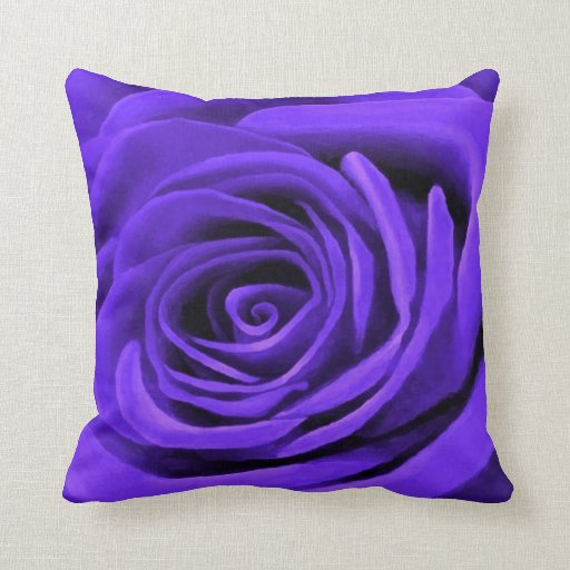Dark Periwinkle Rose Throw Pillow Zazzle