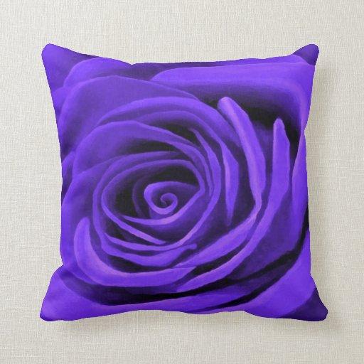 Dark Periwinkle Rose Throw Pillow Zazzle