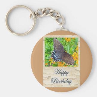 Dark Phase Tiger Swallowtail Butterfly Birthday Keychain