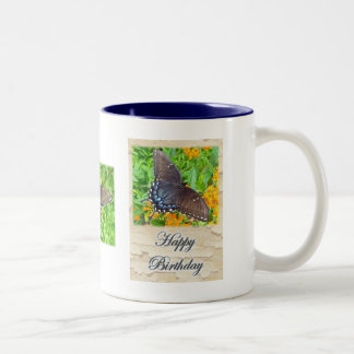 Dark Phase Tiger Swallowtail Butterfly Birthday Two-Tone Coffee Mug