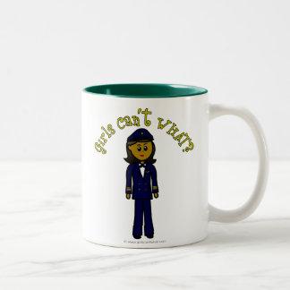 Dark Pilot Girl Two-Tone Coffee Mug