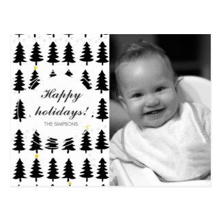 dark pine forrest on white postcard