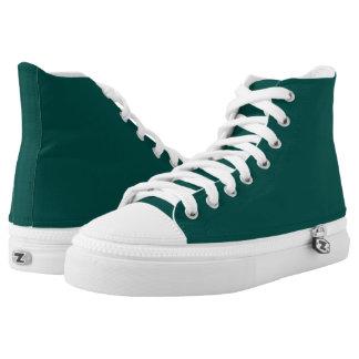 Dark Pine Green Hi-Top Printed Shoes