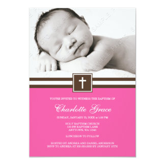 Dark Pink and Brown Cross Girl Photo Baptism 5x7 Paper Invitation Card