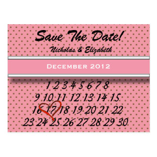 Dark Pink and Brown Save the Date Custom Calandar Postcard