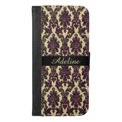 Dark Pink and Gold Damask Personalized Wallet Case
