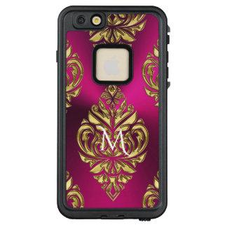 Dark Pink and Gold Metallic Damask Print LifeProof® FRĒ® iPhone 6/6s Plus Case