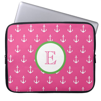 Dark Pink and Hunter Green Anchor Laptop Sleeve