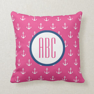 Dark Pink and Navy Blue Anchor Monogram Pillow