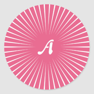 Dark Pink and White Sunrays Monogram Sticker