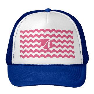 Dark Pink and White Waves Monogram Trucker Hat