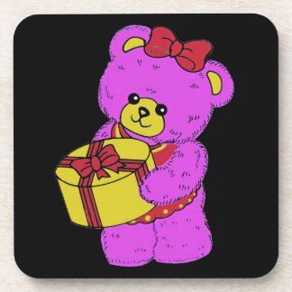 Dark Pink and Yellow Teddy Bear for Girls(2) Coaster
