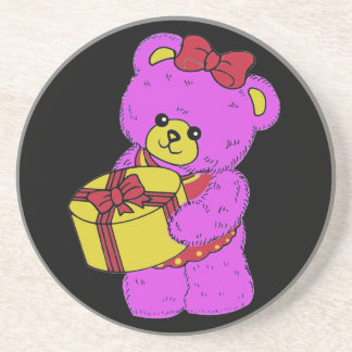 Dark Pink and Yellow Teddy Bear for Girls(2) Drink Coaster