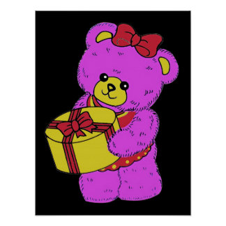 Dark Pink and Yellow Teddy Bear for Girls(2) Print