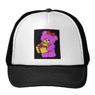 Dark Pink and Yellow Teddy Bear for Girls(2) Trucker Hat