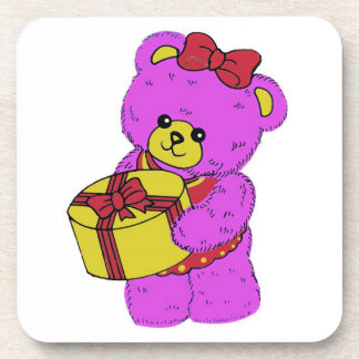 Dark Pink and Yellow Teddy Bear for Girls Beverage Coaster
