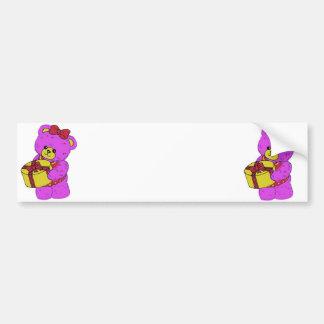 Dark Pink and Yellow Teddy Bear for Girls Bumper Sticker