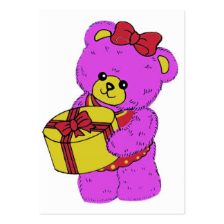 Dark Pink and Yellow Teddy Bear for Girls Business Card Template