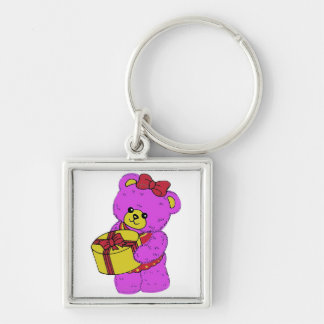 Dark Pink and Yellow Teddy Bear for Girls Keychains