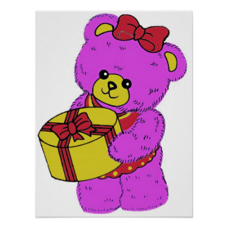 Dark Pink and Yellow Teddy Bear for Girls Poster