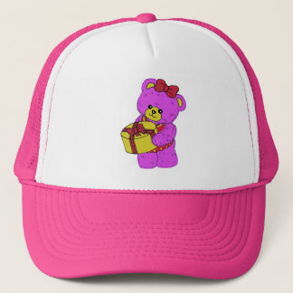 Dark Pink and Yellow Teddy Bear for Girls Trucker Hat