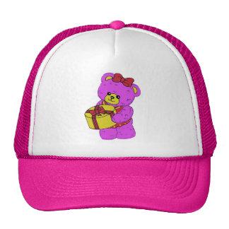 Dark Pink and Yellow Teddy Bear for Girls Trucker Hat