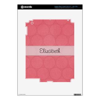 Dark Pink Big Dots Stitched White Vellum iPad 3 Decals