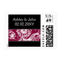 dark pink black and white postage