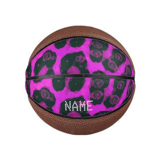Dark Pink Black Painted Cheetah Basketball