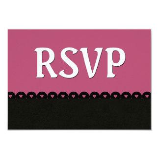Dark Pink Black RSVP Hearts Scalloped Lace V5E7 Card
