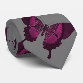 Dark pink butterfly with gray backround tie