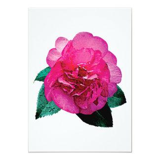 Dark Pink Camellia Dazzler 5x7 Paper Invitation Card