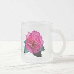 Dark Pink Camellia Dazzler Frosted Glass Coffee Mug