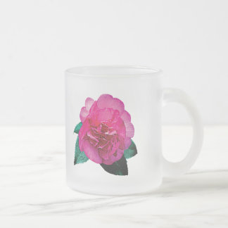 Dark Pink Camellia Dazzler 10 Oz Frosted Glass Coffee Mug