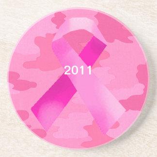 Dark Pink Camouflage Pink Ribbon Date Coaster
