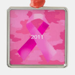 Dark Pink Camouflage Pink Ribbon Date Ornament