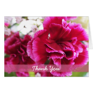 Dark Pink Carnations thank you 1 Card