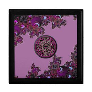 Dark Pink Celtic Fractal Design Jewelry Box